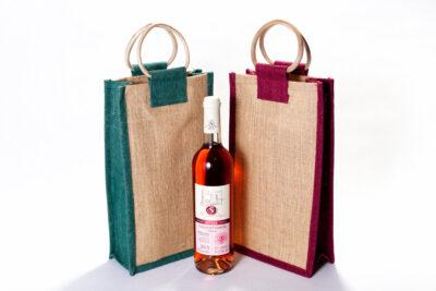 Jutová taška na 2 fľašky bez okienka farebná